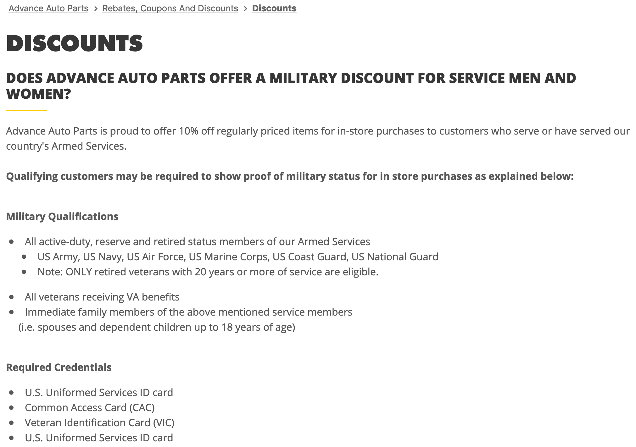 Advance Auto Parts Military Veteran Discount