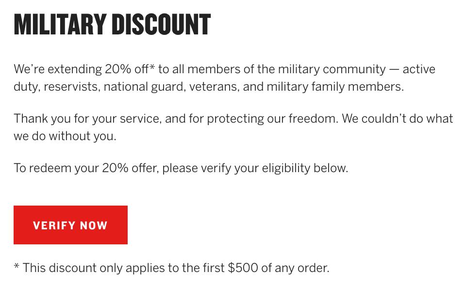 American Giant Military Veteran Discount
