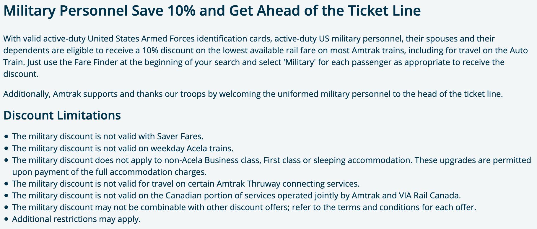 Amtrak Military Veteran Discount