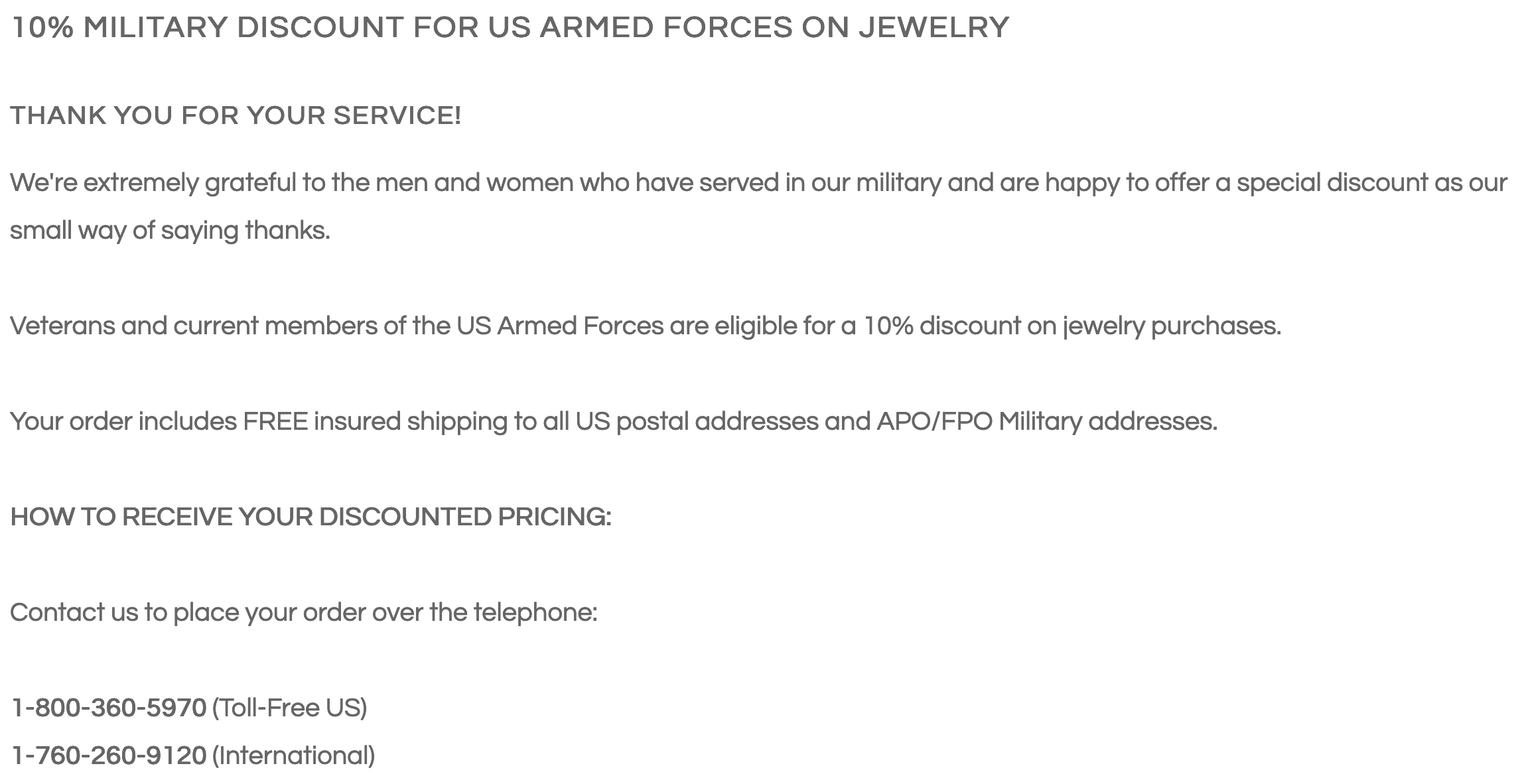 Antique Jewelry Mall Military Veteran Discount