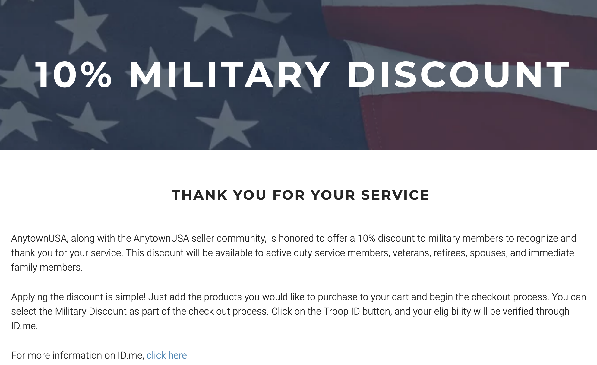 Anytown USA Military Veteran Discount