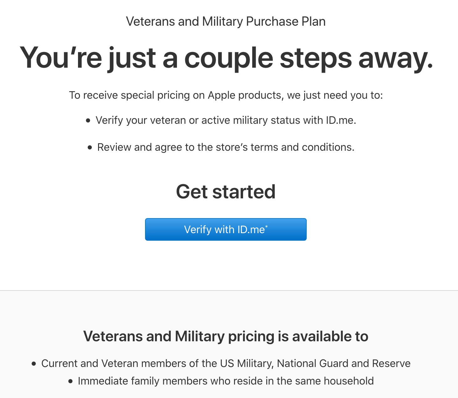 Apple Military Veteran Discount
