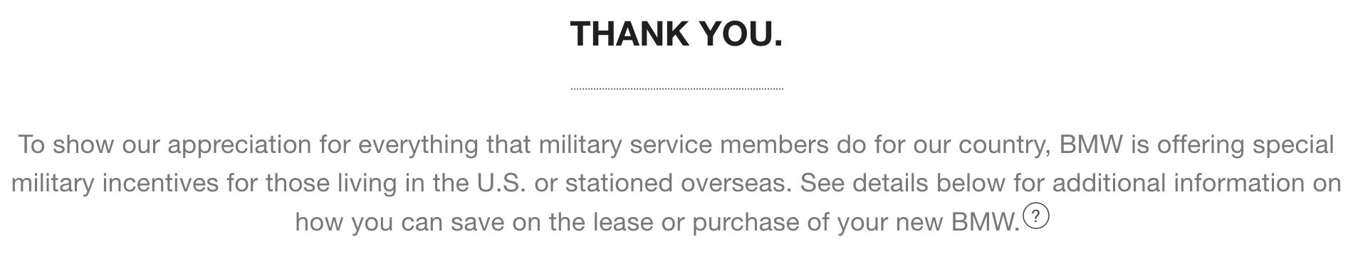 BMW Military Veteran Discount