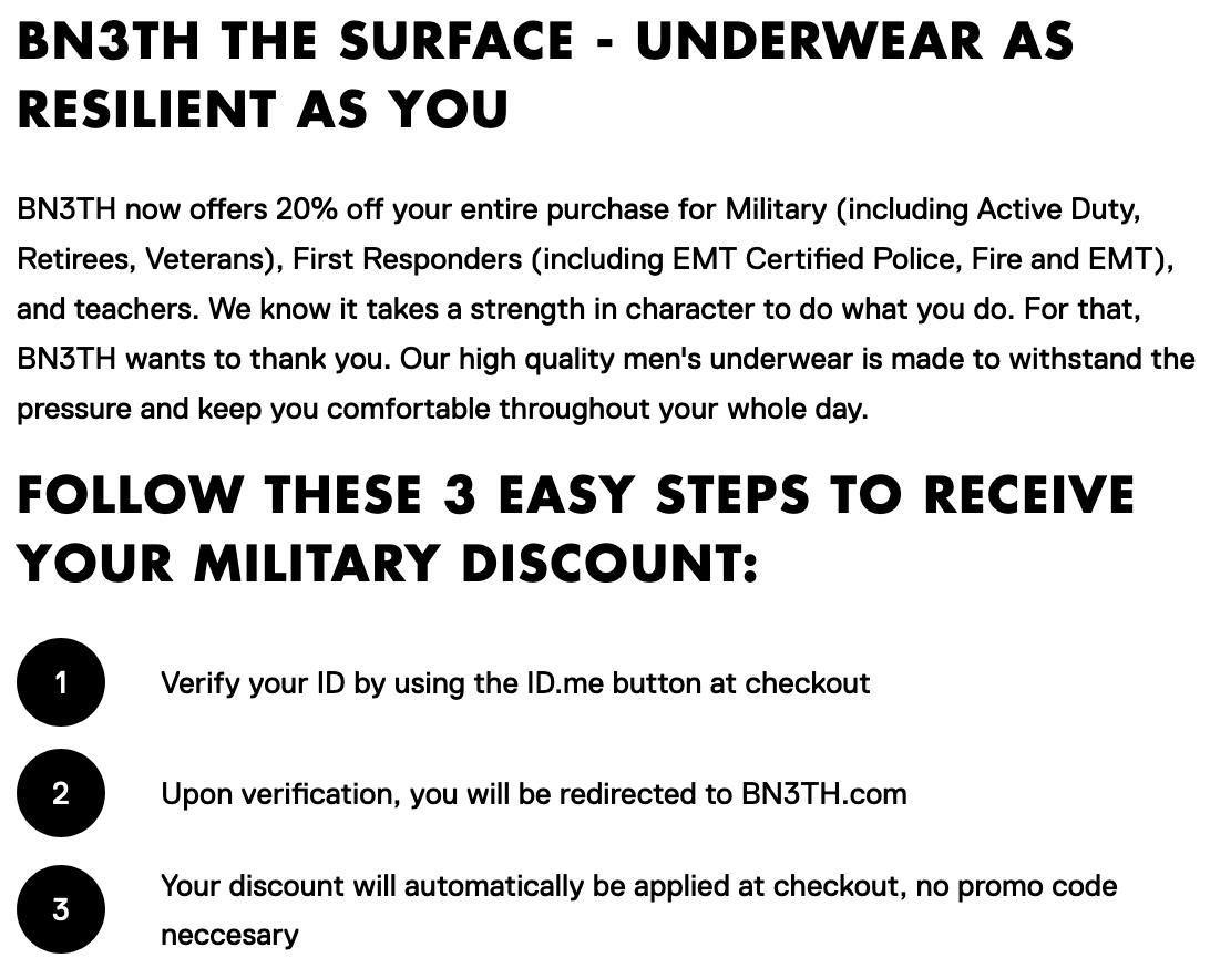 BN3TH Underwear Military Veteran Discount