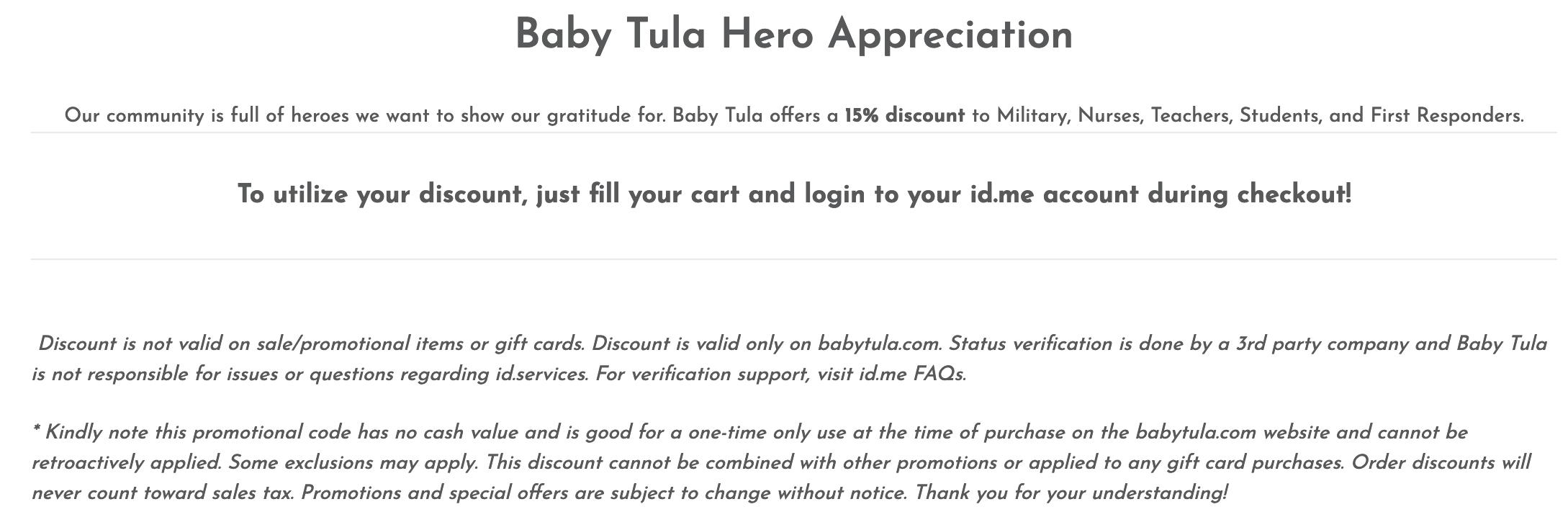 Baby Tula Military Veteran Discount