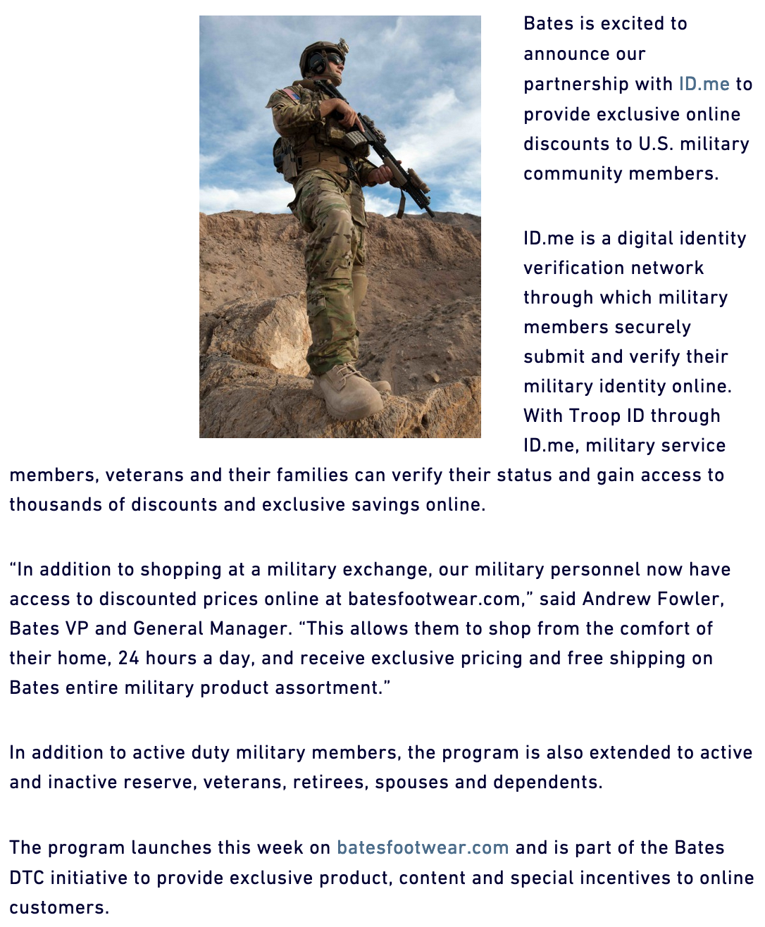 Bates Footwear Military Veteran Discounts