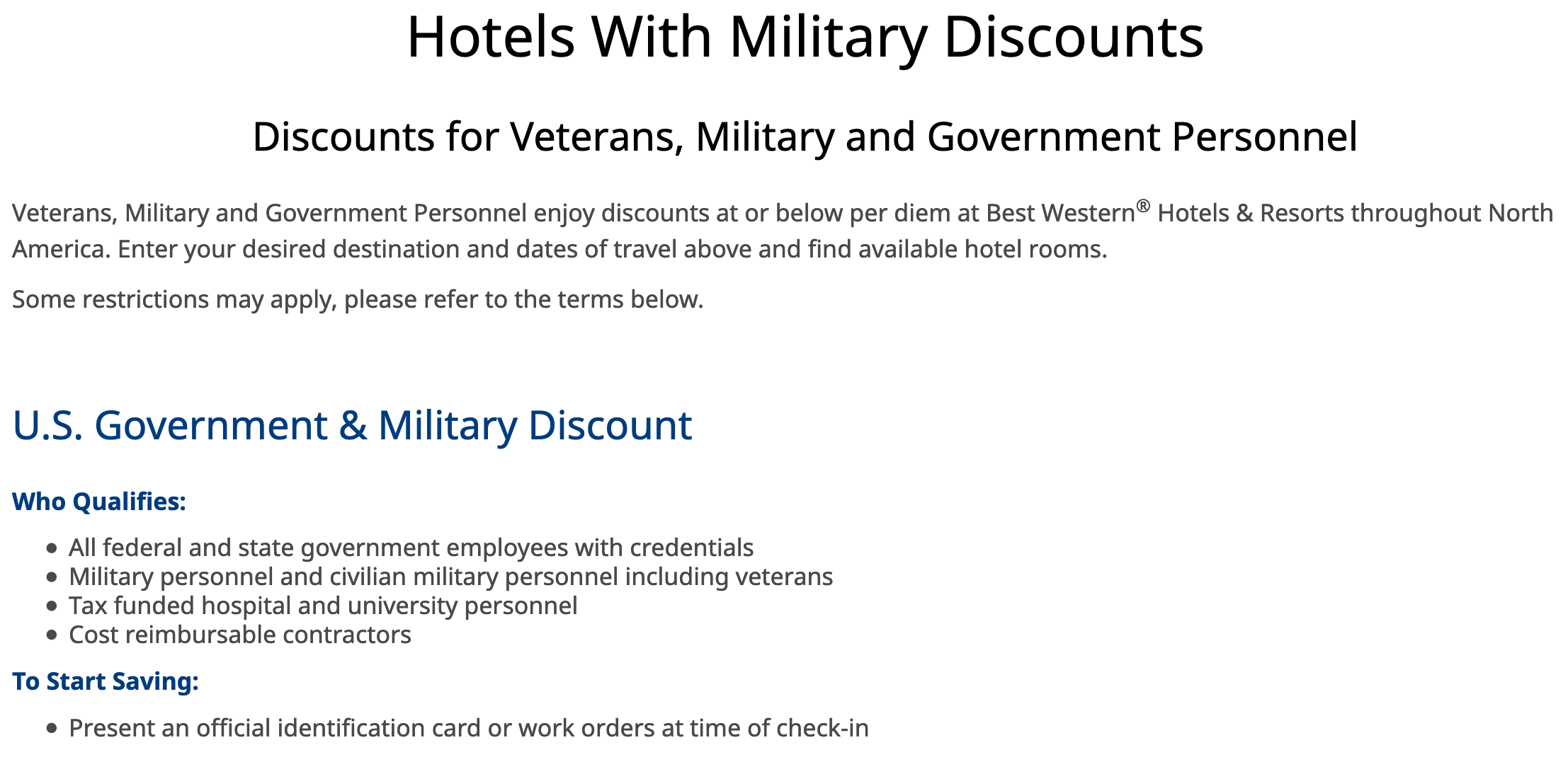 Best Western Military Veteran Discounts