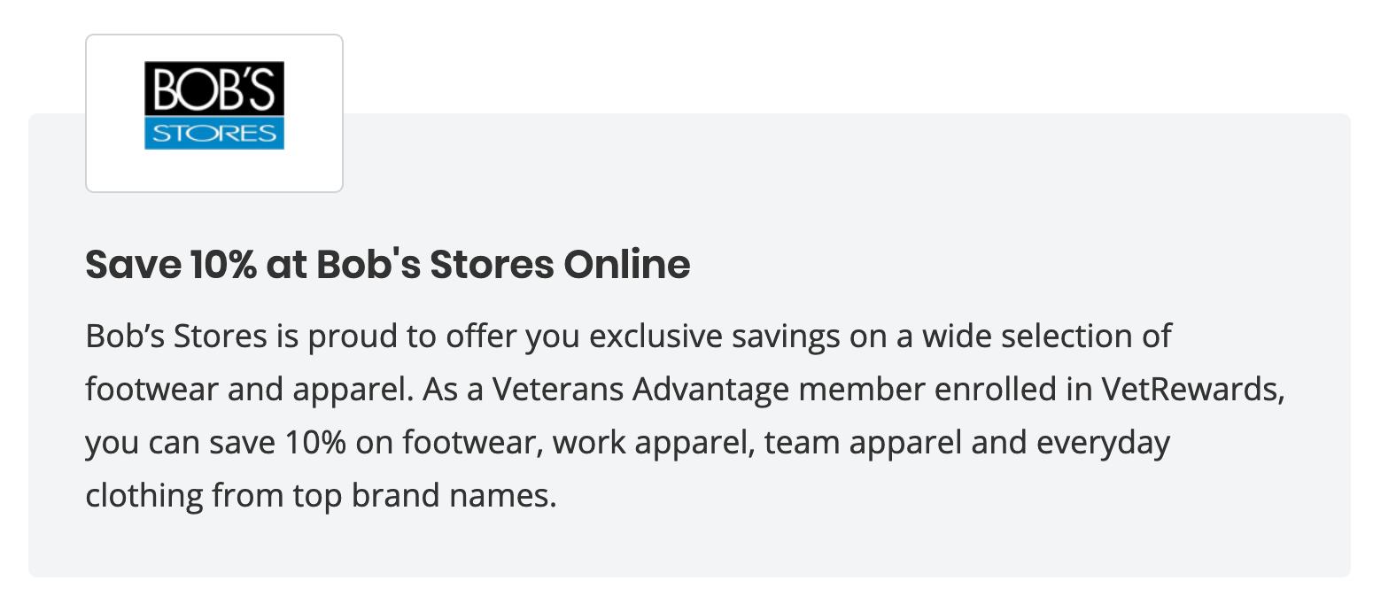 Bob's Stores Military Veteran Discounts