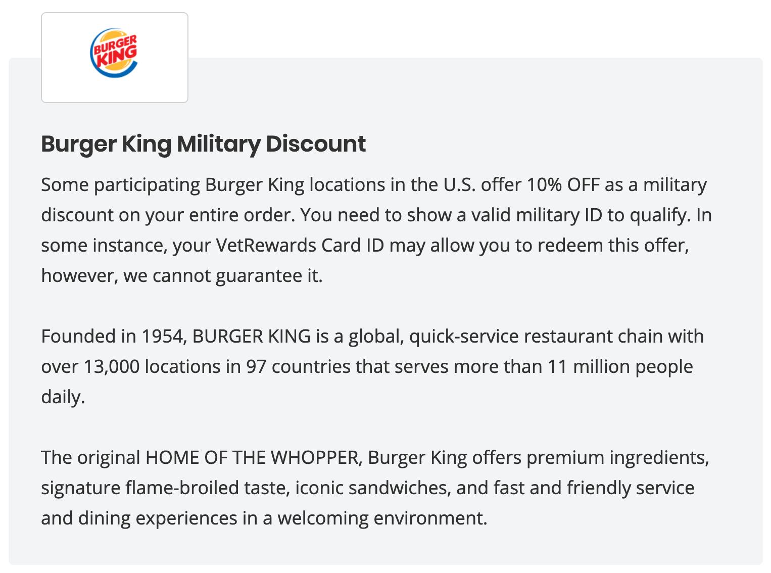 Burger King MIlitary Veteran Discounts