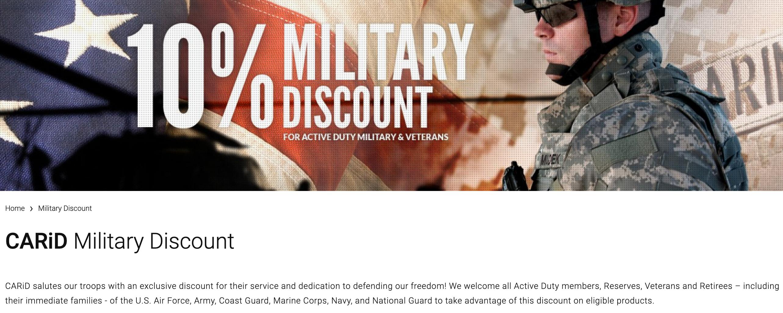 CARiD Military Veteran Discount