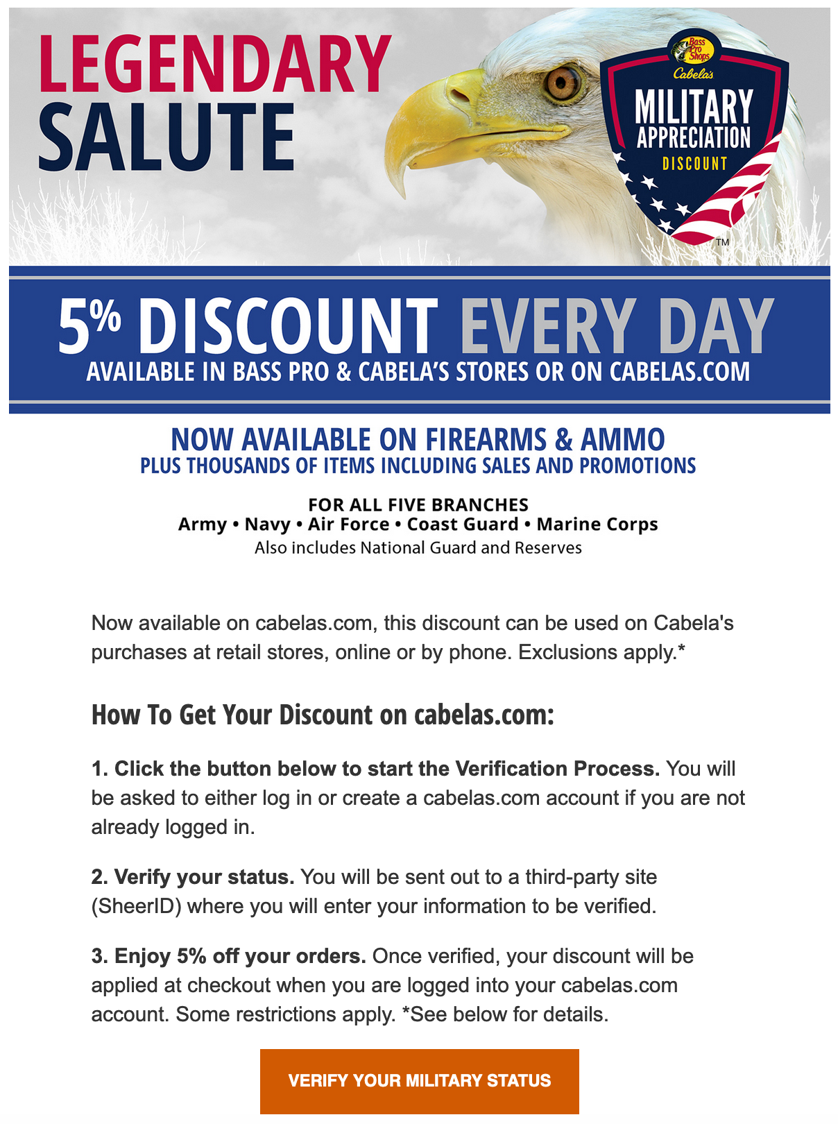 Cabela's Military Veteran Discounts