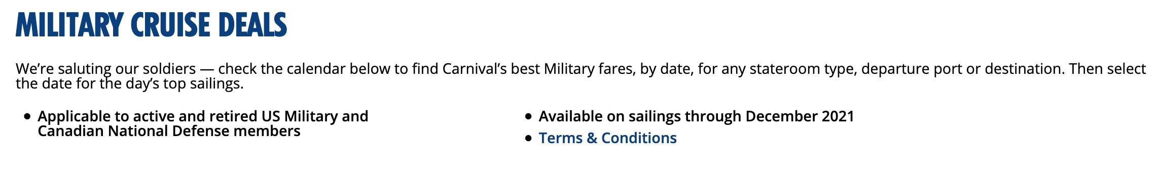 Carnival Cruise Lines Military Veteran Discounts