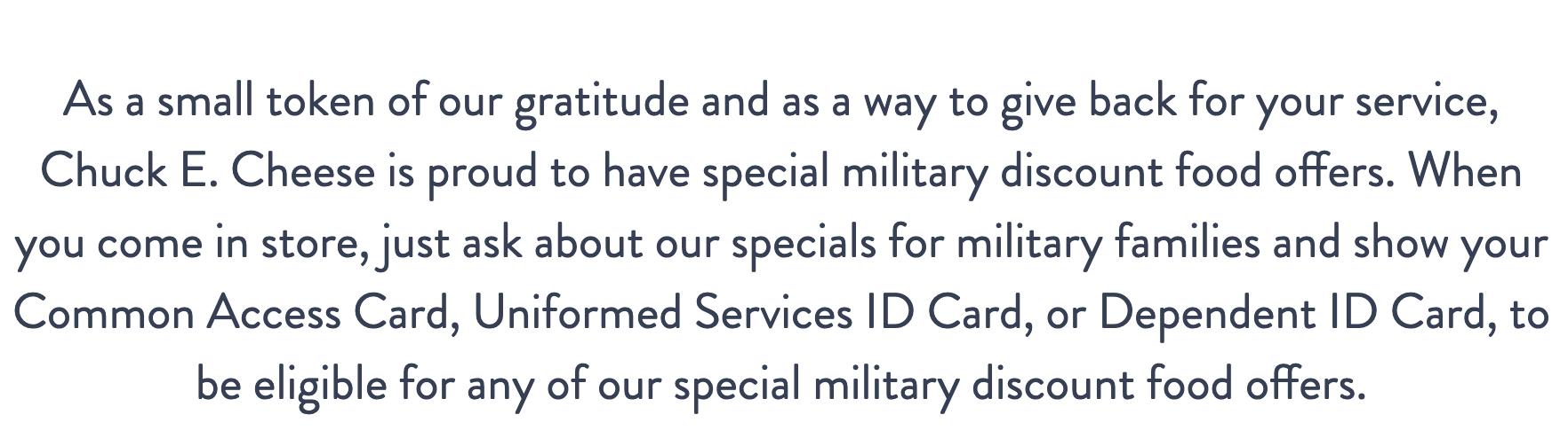 Chuck E. Cheese Military Veteran Discounts