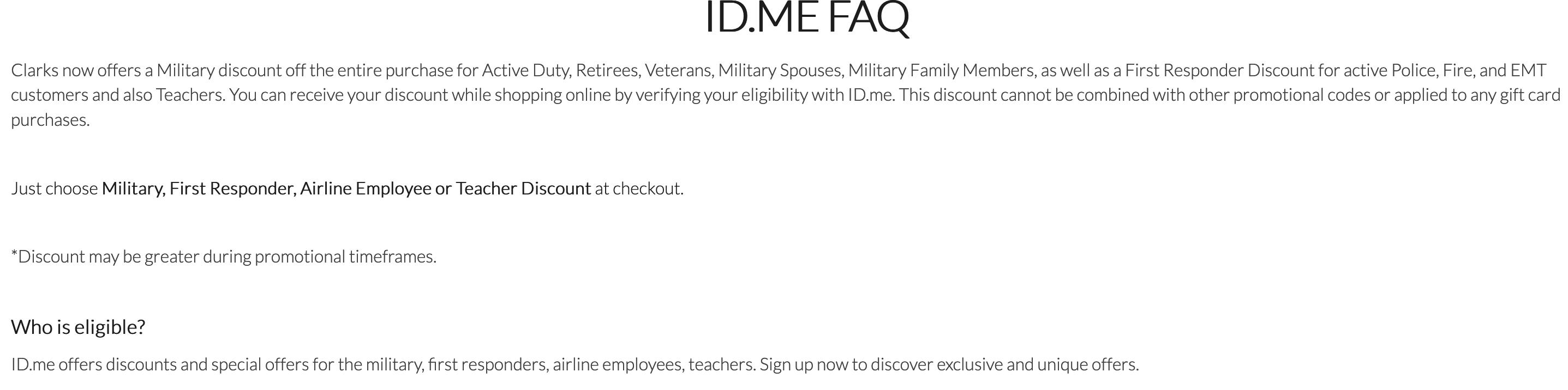 Clarks Military Veteran Discounts