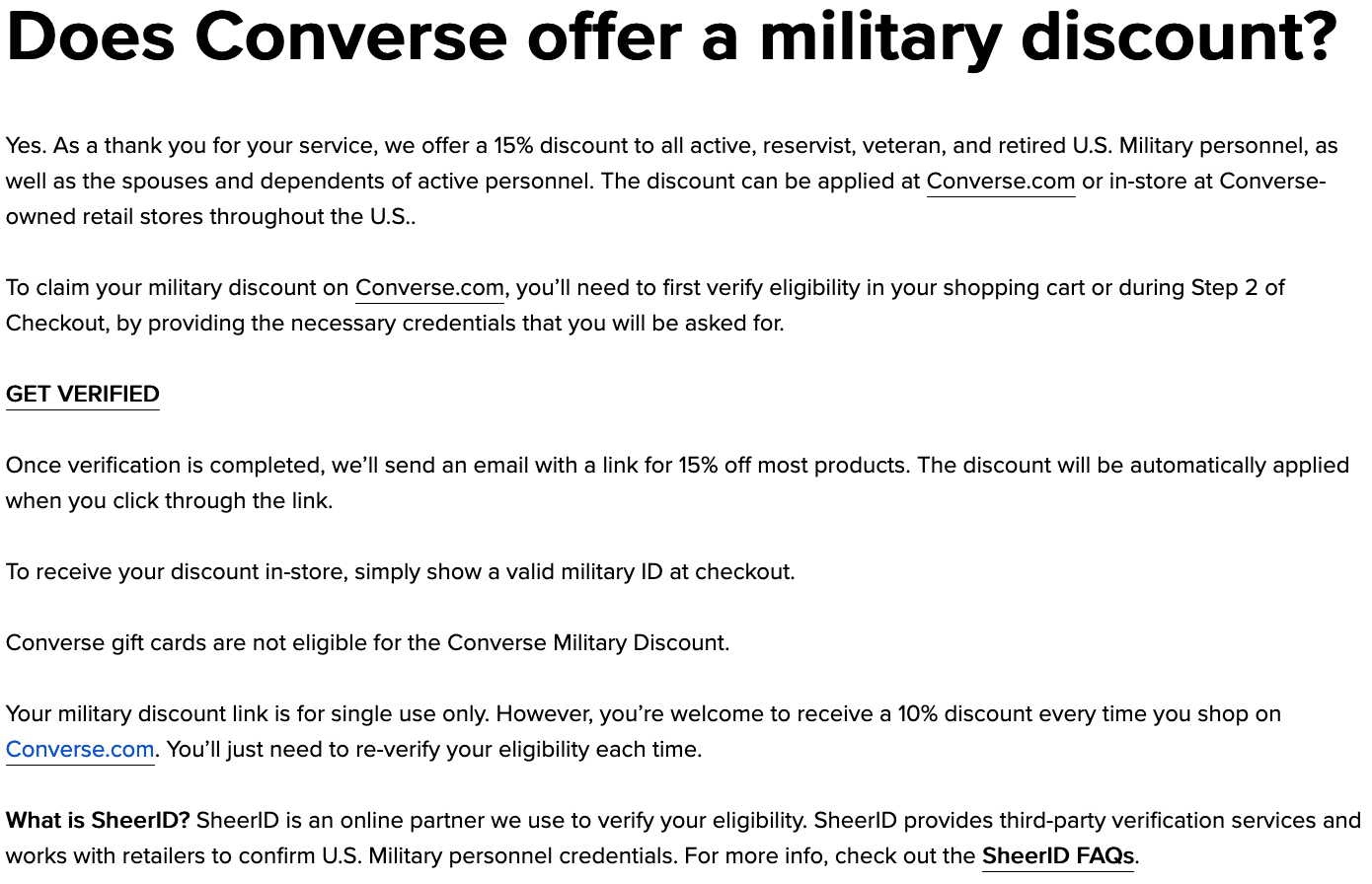 Converse Military Veteran Discounts