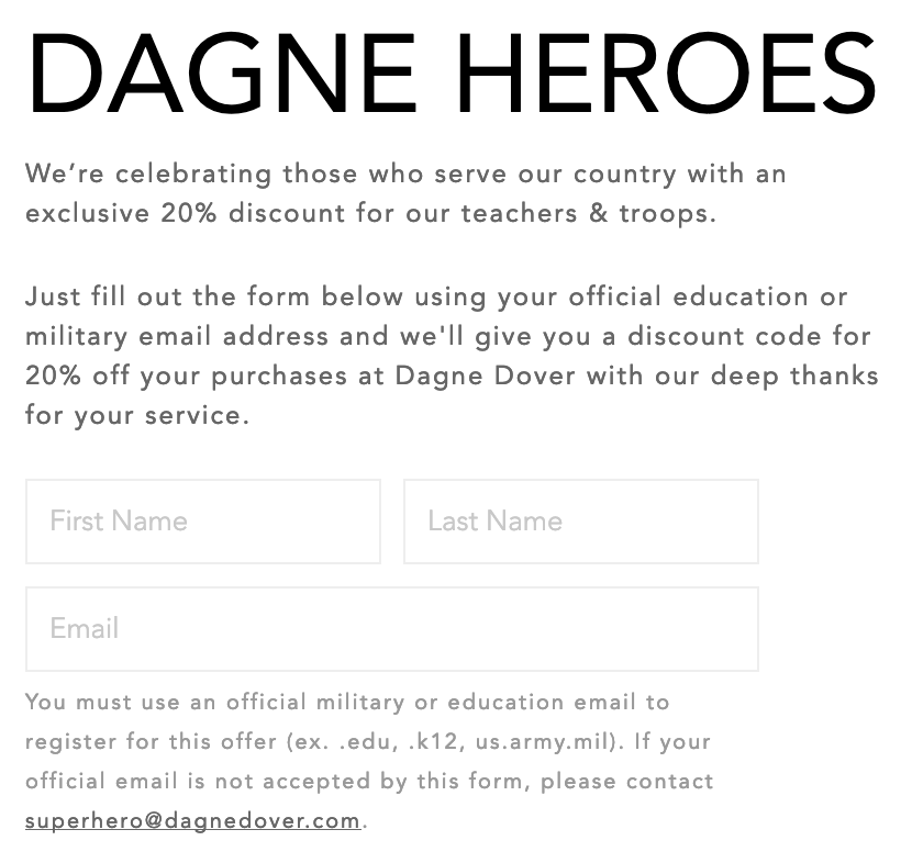 Dagne Dover Military Veteran Discounts