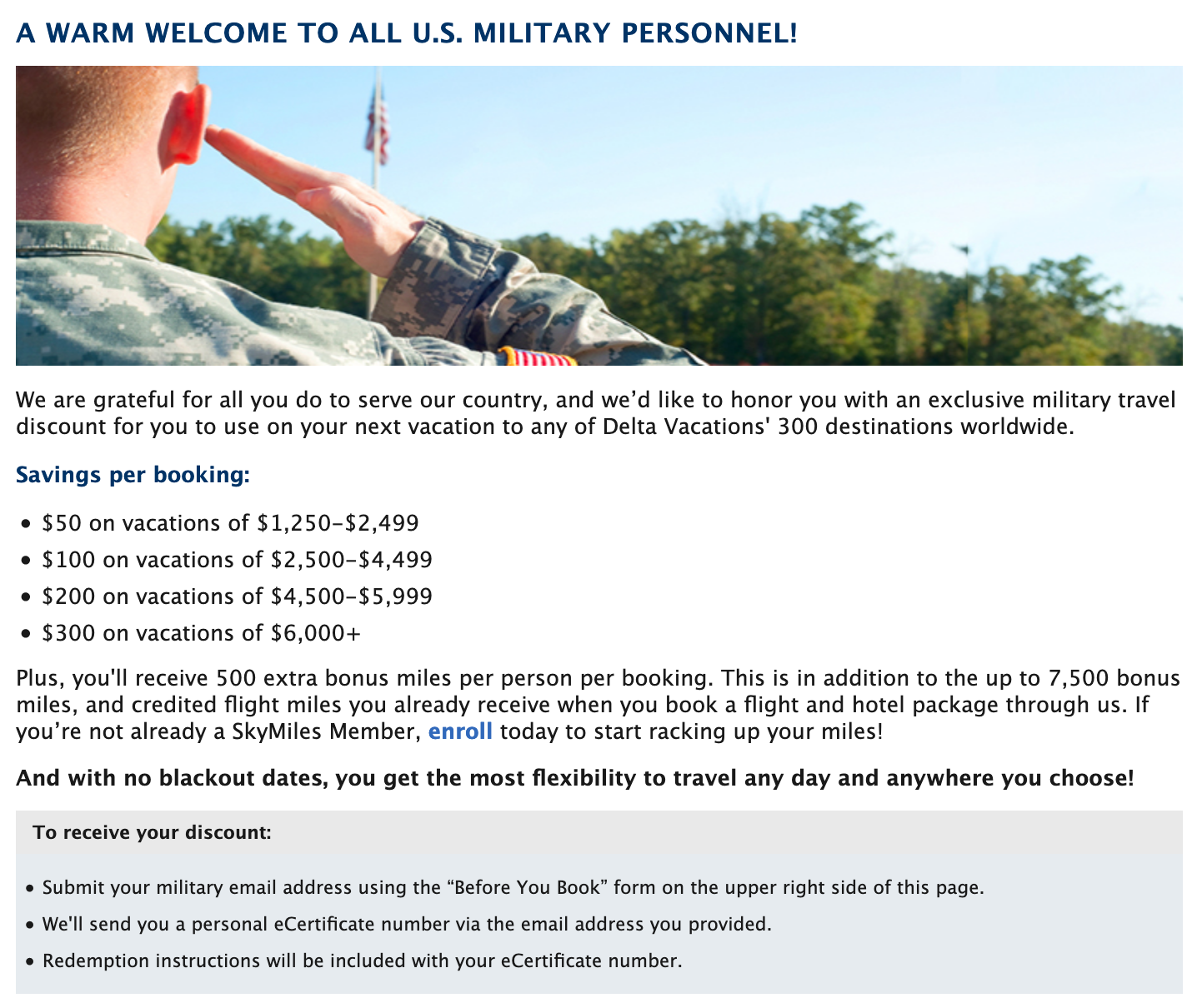 Delta Vacations Military Veteran Discounts