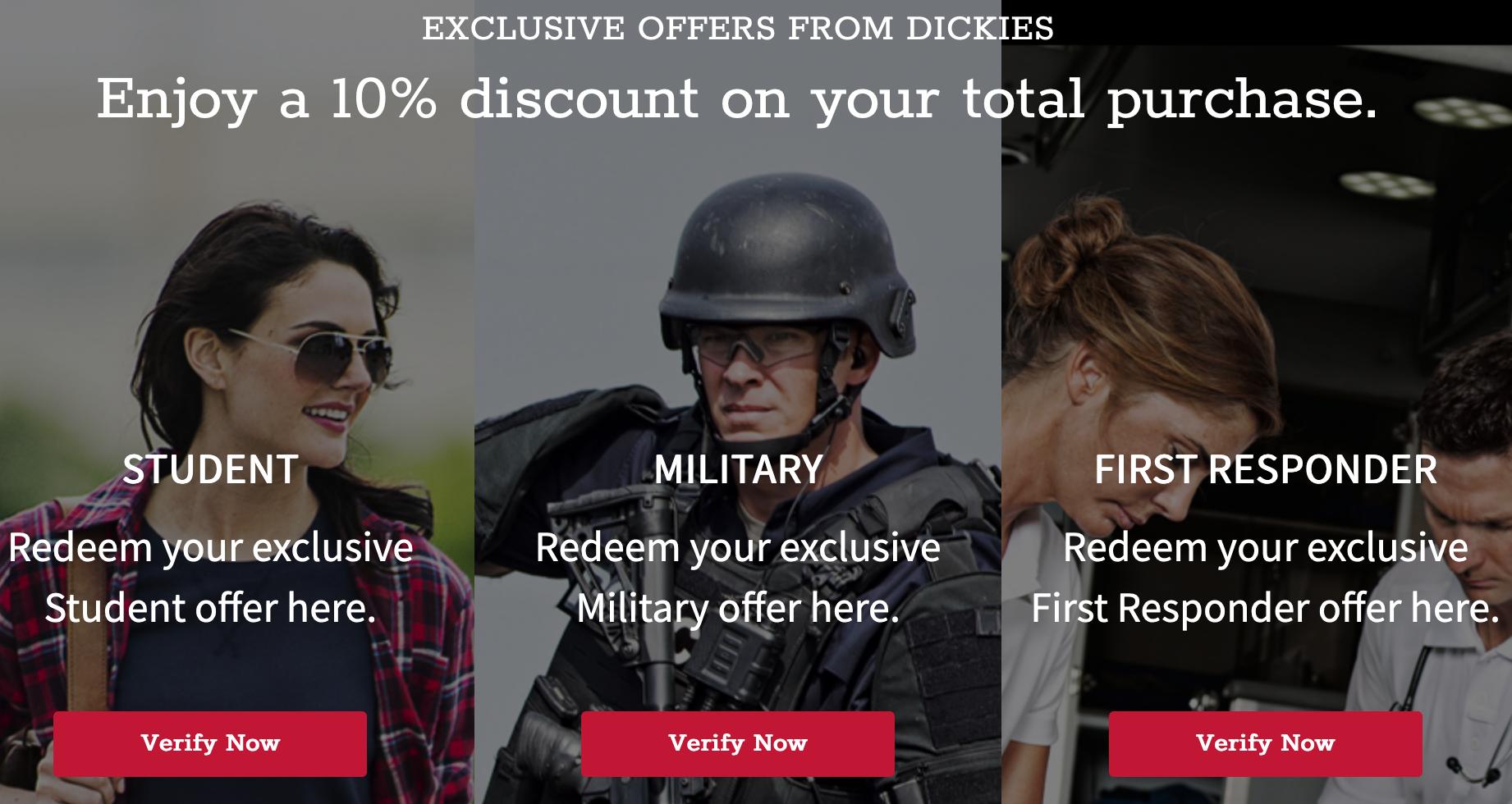 Dickies Military Veteran Discounts