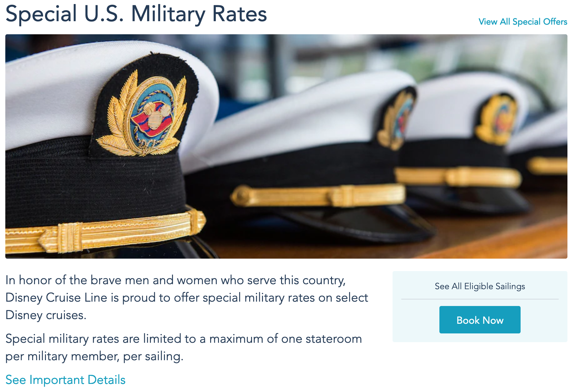 Disney Cruise Lines Military Veteran Discounts