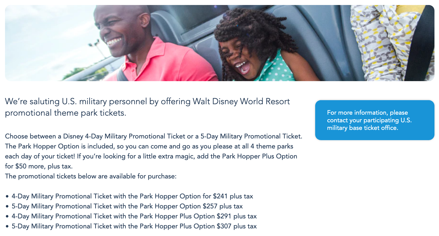 Disney World Military Veteran Discounts