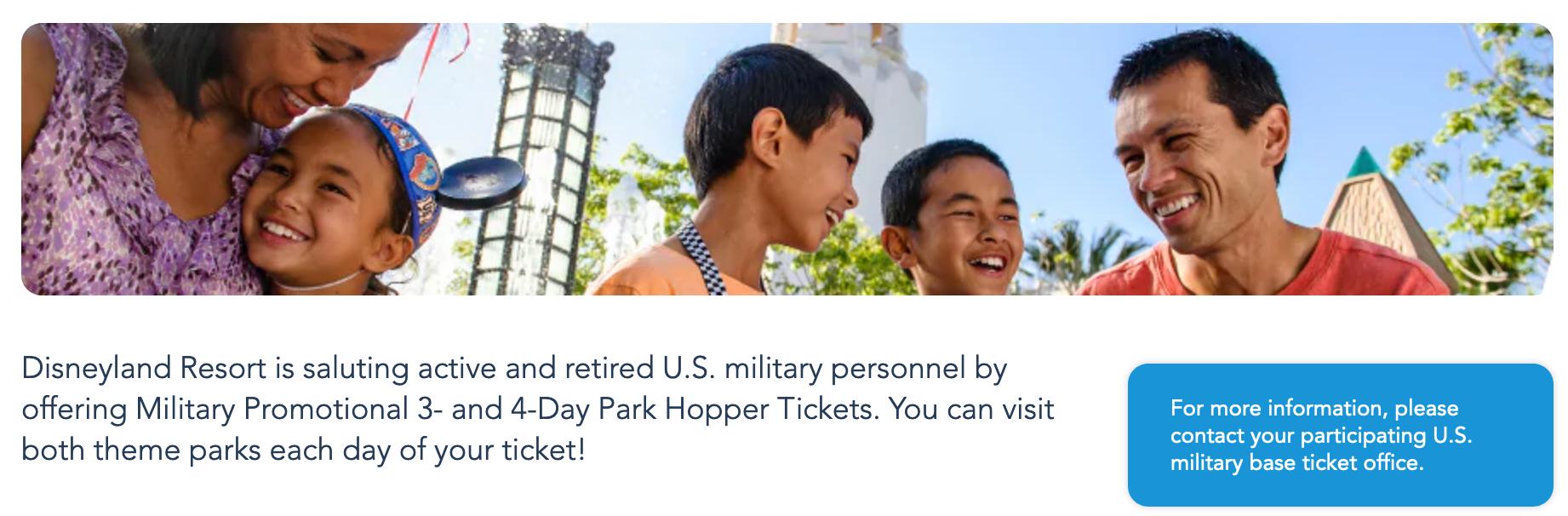 Disneyland Military Veteran Discounts