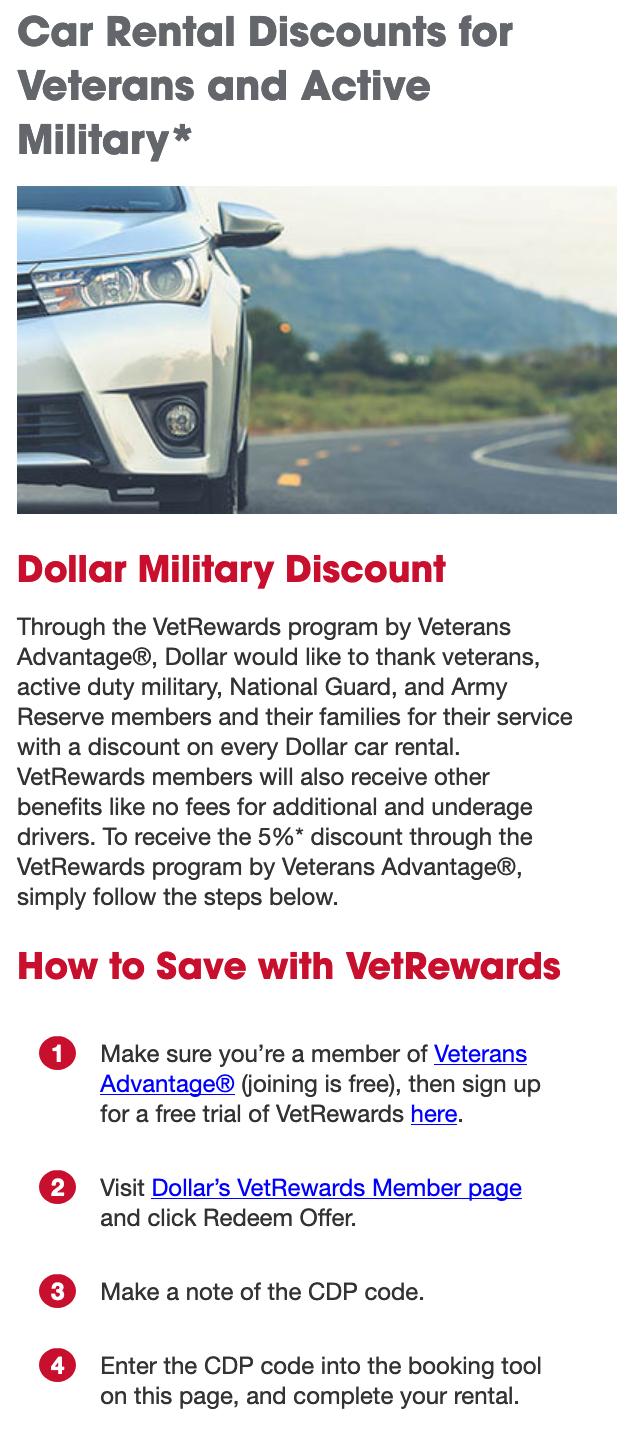 Dollar Rent A Car Military Veteran Discounts