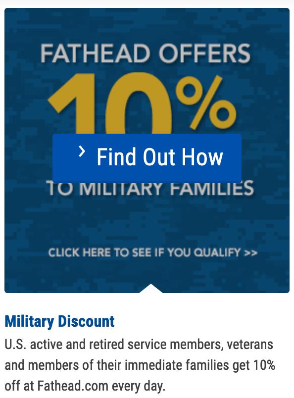 Fathead Military Veteran Discounts