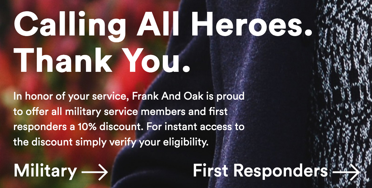 Frank and Oak Military Veteran Discounts