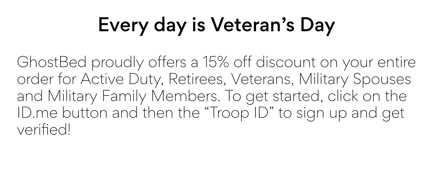 GhostBed Military Veteran Discounts