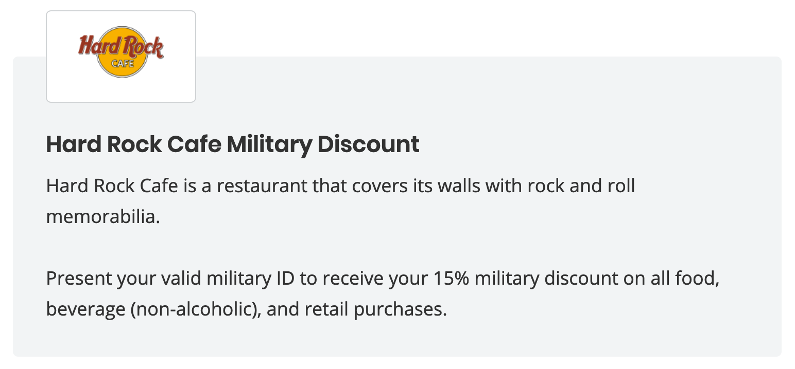 Hard Rock Café Military Veteran Discounts