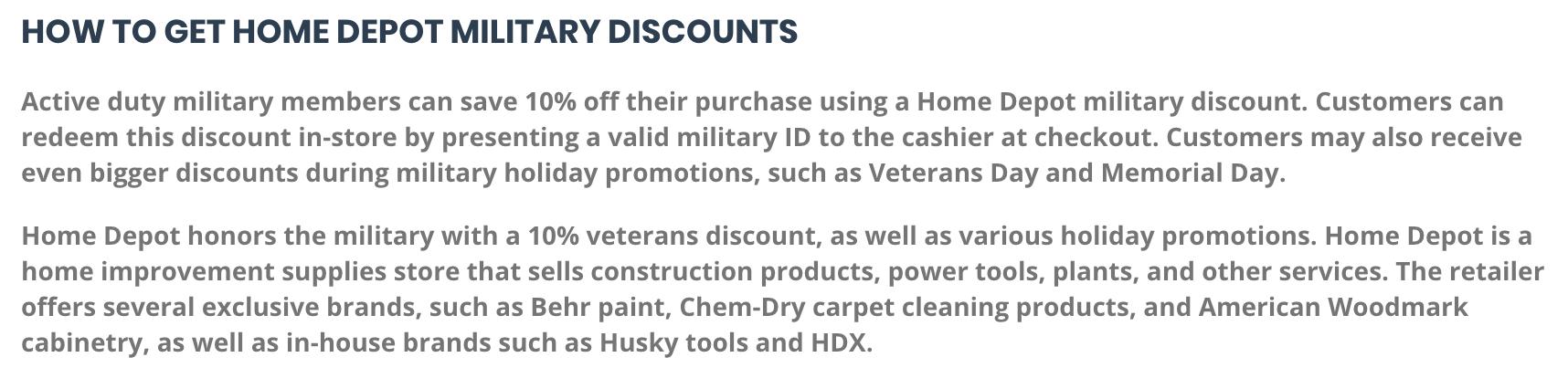 Home Depot Military Veteran Discounts