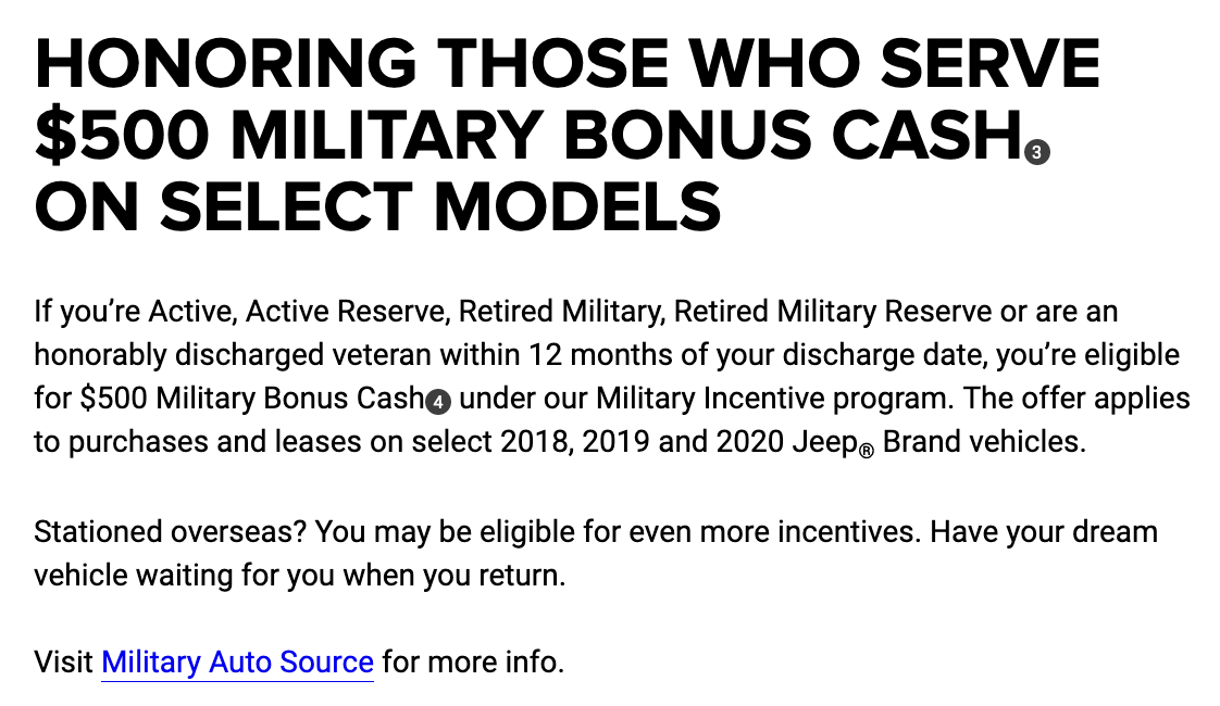 Jeep Military Veteran Discounts