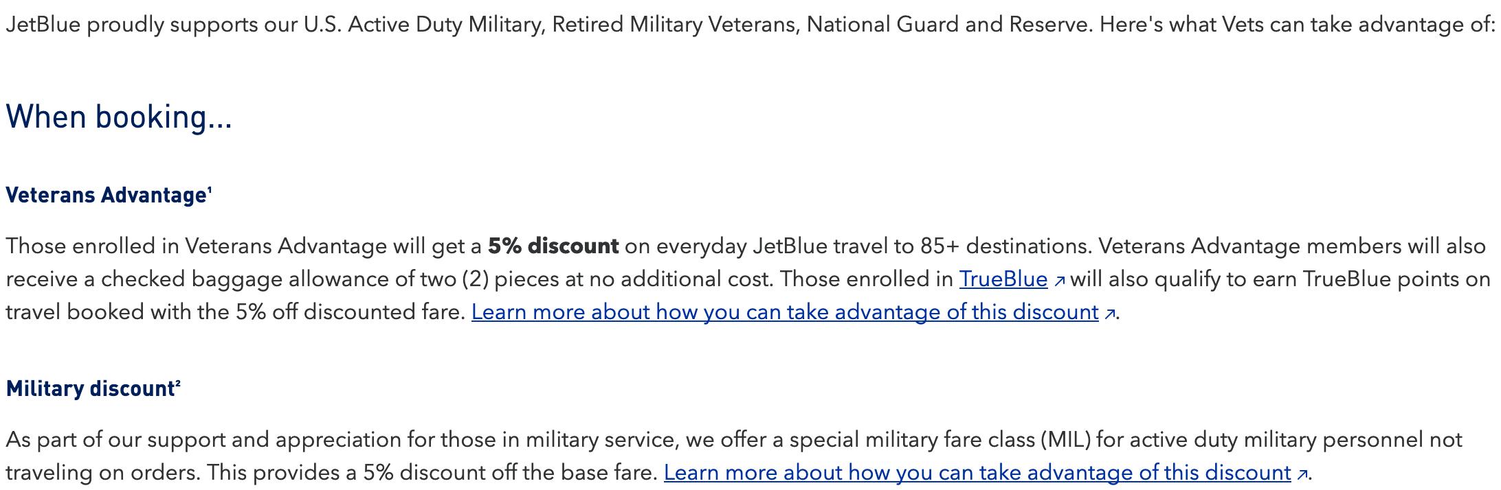 JetBlue Military Veteran Discounts
