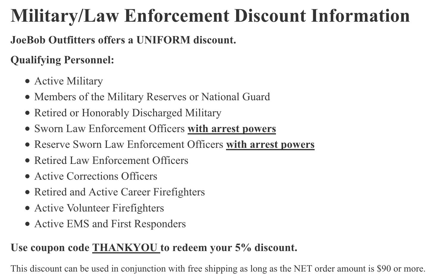 Joe Bob Outfitters Military Veteran Discounts