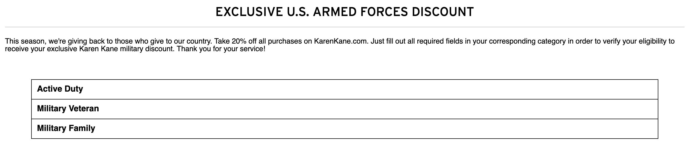 Karen Kane Military Veteran Discounts