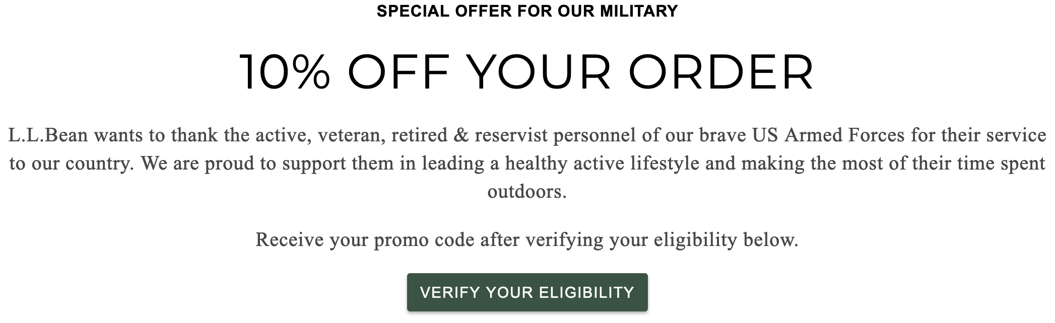 L.L. Bean Military Veteran Discounts