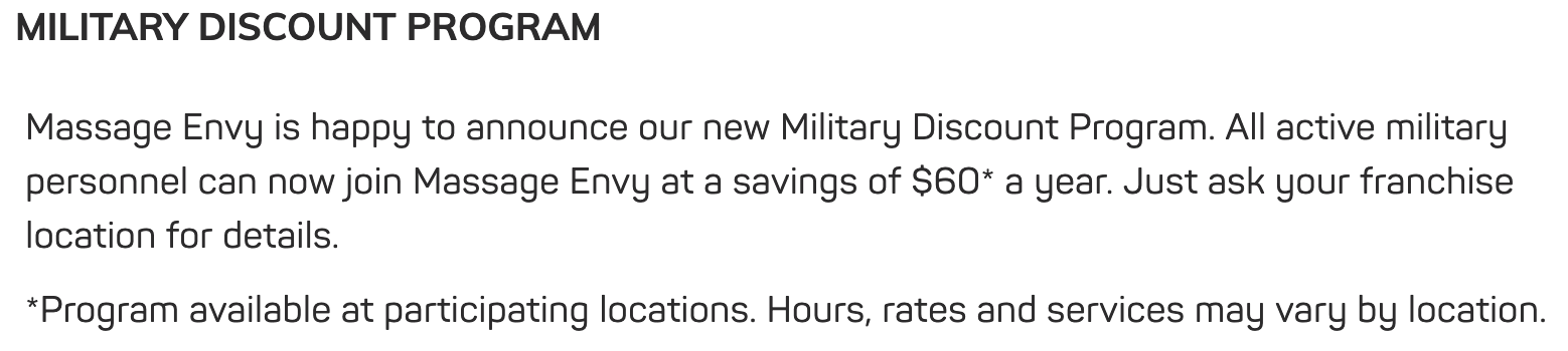 Massage Envy Military Veteran Discounts