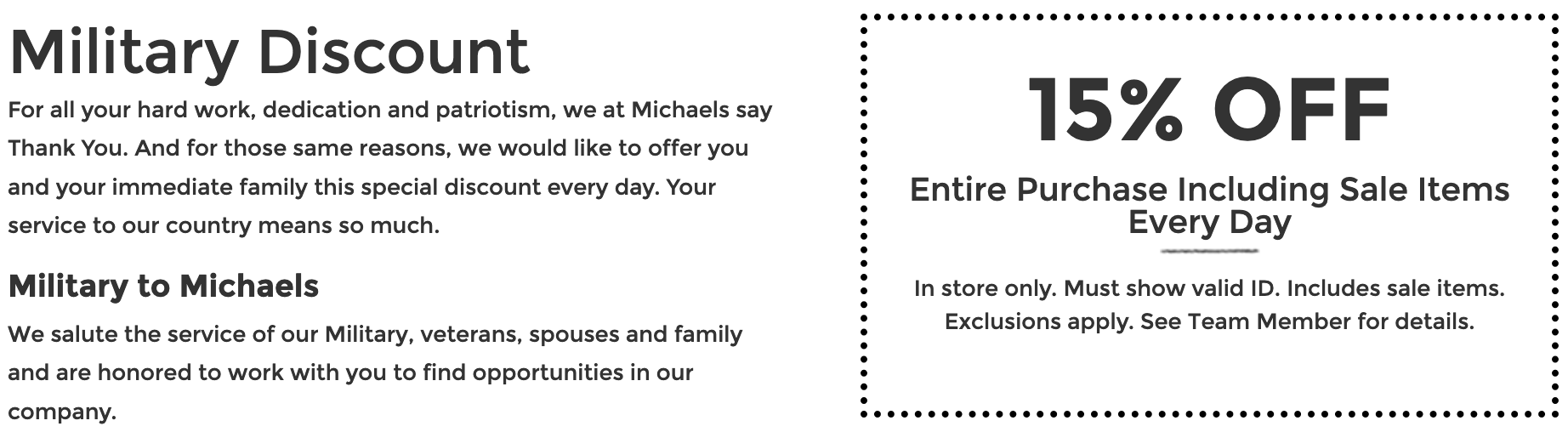 Michaels Military Veteran Discounts