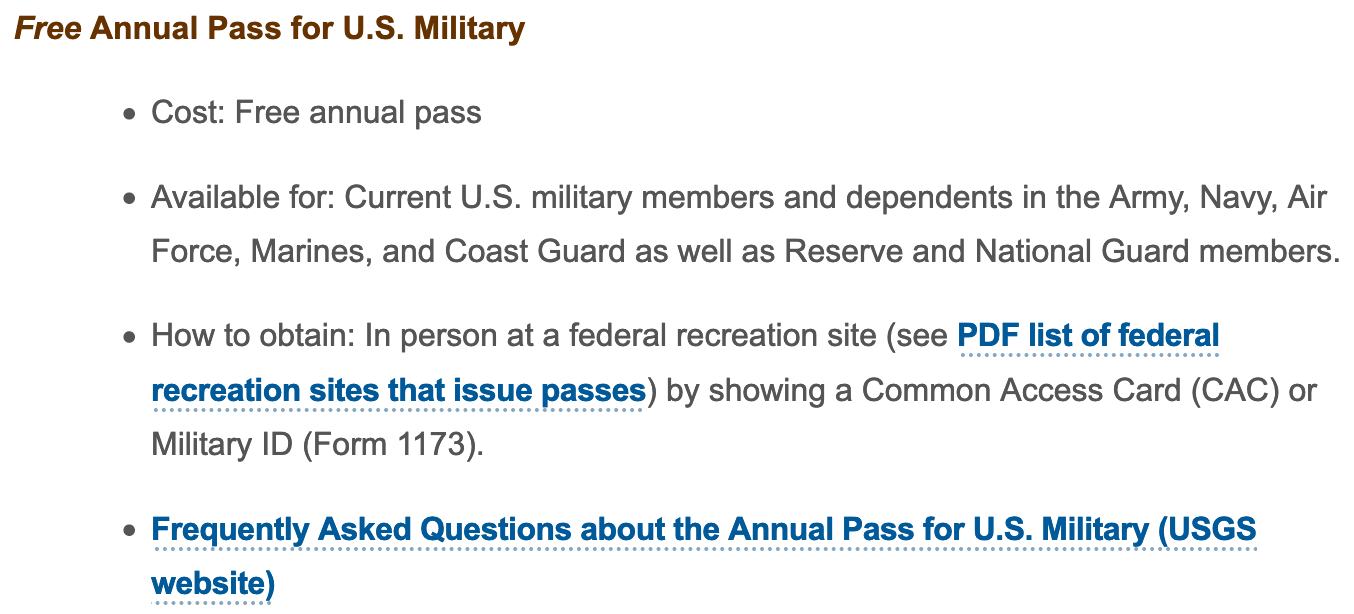 National Park Service Military Veteran Discounts