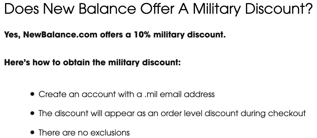 New Balance Military Veteran Discounts