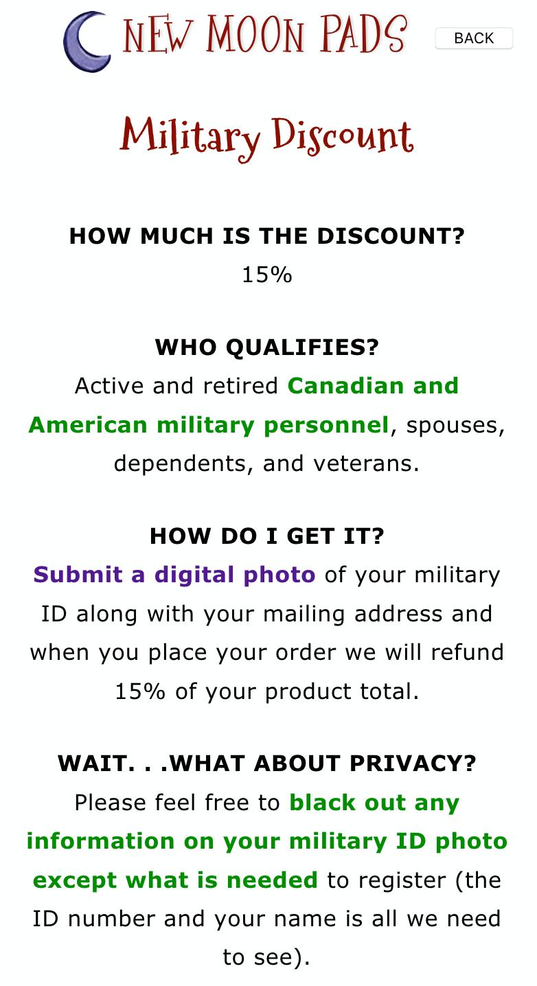 New Moon Pads Military Veteran Discounts