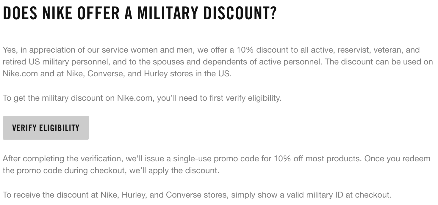 papel Grande de primera categoría  Nike Military Discount - 10% Off - Military Veteran Discounts