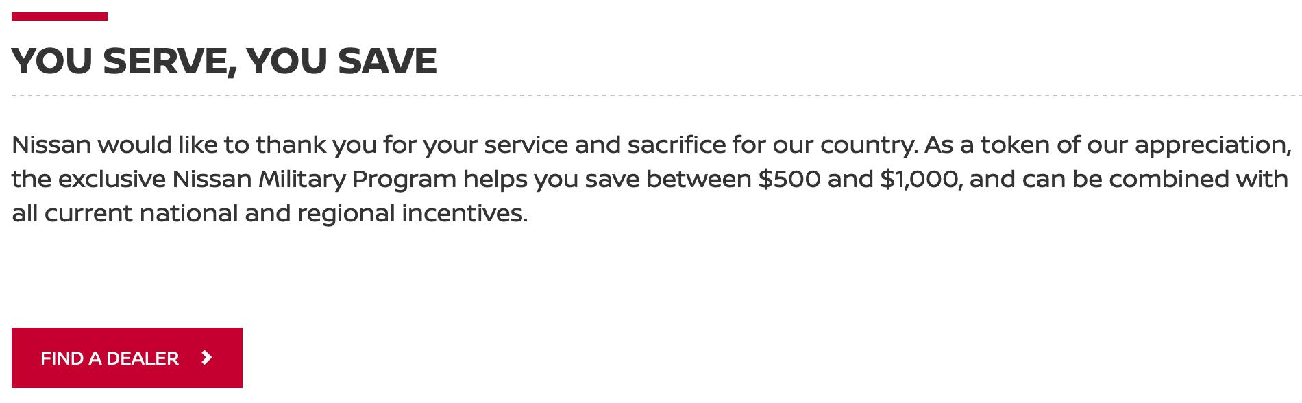 Nissan Military Veteran Discounts