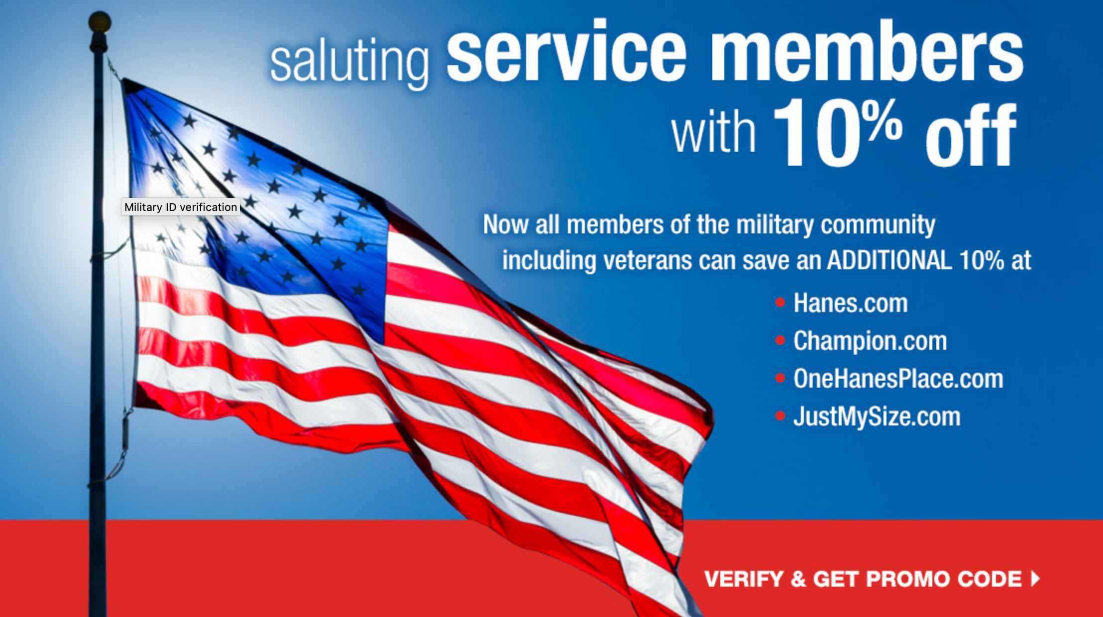 OneHanesPlace.com Military Veteran Discounts