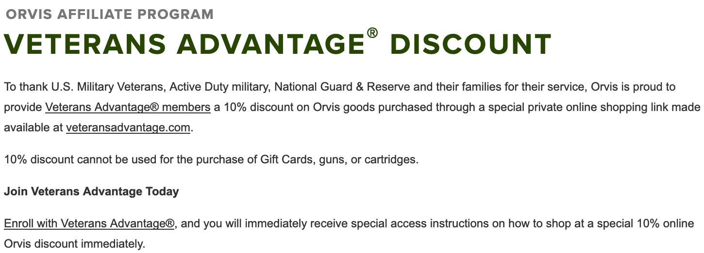 Orvis Military Veteran Discounts