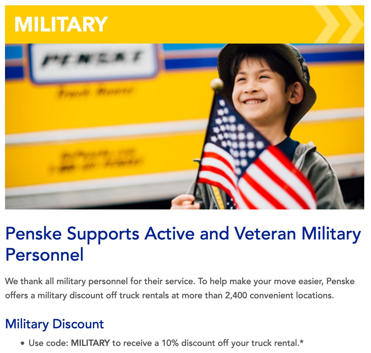 Penske Military Veteran Discounts