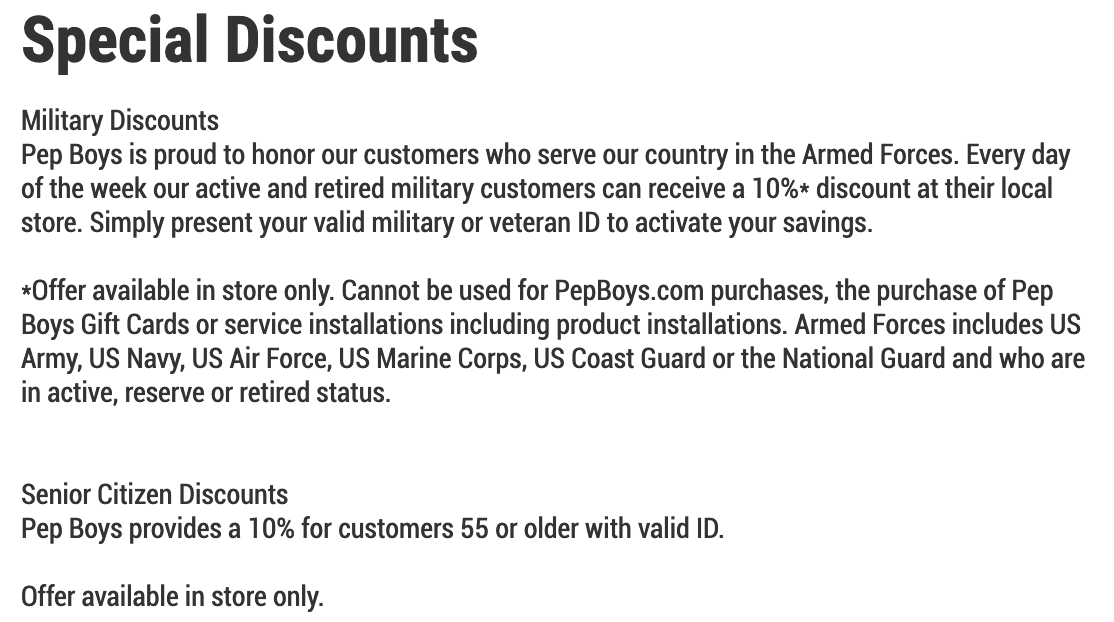 Pep Boys Military Veteran Discounts