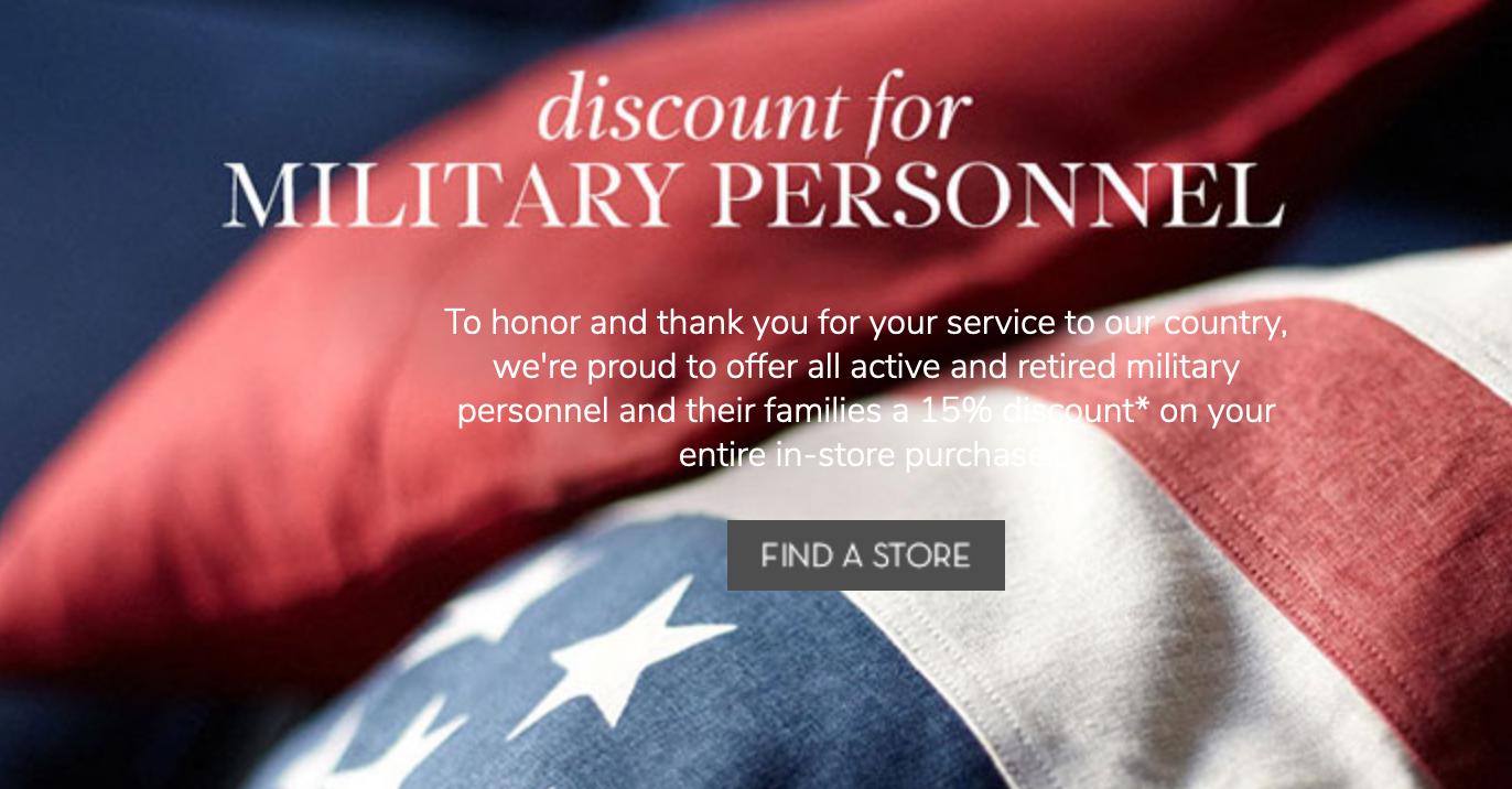 Pottery Barn Military Veteran Discounts