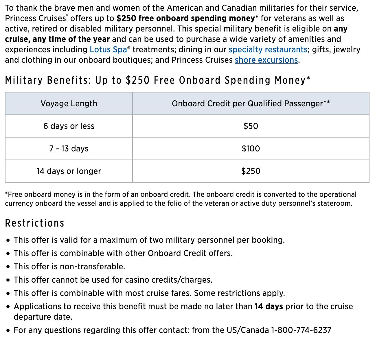 Princess Cruises Military Veteran Discounts