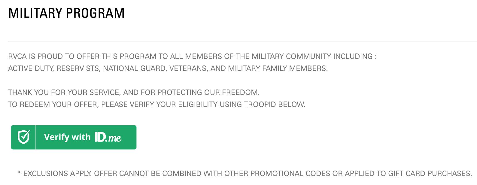 RVCA Military Veteran Discounts